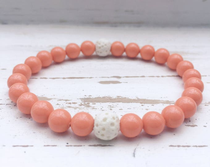 White Lava Rock and Coral Beaded Diffuser Bracelet for Essential Oils; Aromatherapy