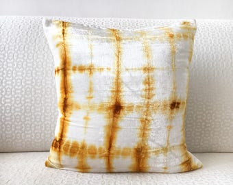 Gold White Velvet Euro Sham 26x26 pillow cover 24x24 22x22 28x28 Gold Shibori pillow sham, Gold Checks Tie Dye pillow case