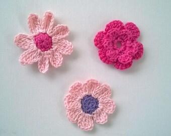 Set 3 Pink Crochet Flowers