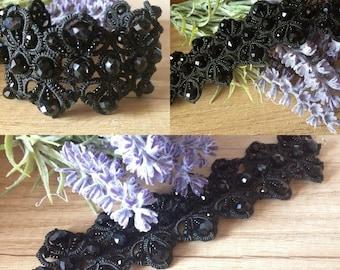Bracelet, Jewellery, jewelry, Black bracelet, Women Accessories, Gift, Tatting, Tatting jewelry, beads jewelry, lace, silk thread, glass