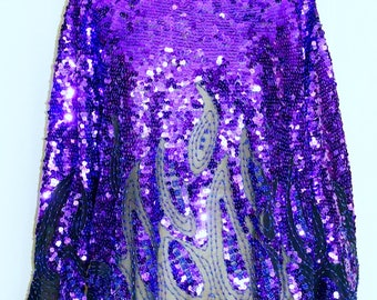 Purple Sheer Sequined Blouse