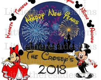 Mickey and Minnie New Year Family Transfer,Digital Transfer,Digital Iron On,Diy