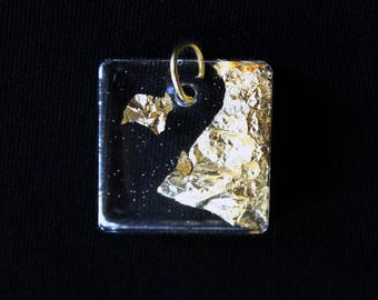 Resin pendant and gold leaf