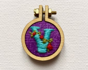 Custom Initial Mini Embroidery Hoop Brooch, Custom Letter Mini Embroidery Hoop Jewellery