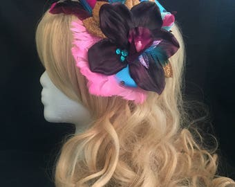 Burlesque Hair Fascinator - purple, blue, gold, pink