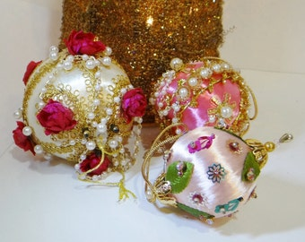 3 Vintage Christmas Ornaments Beaded Pink Gold Satin Pearl Jewel Victorian Design Hollywood Regency Lee Wards Kits Complete 70's
