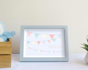 Party on ! - Party garland art print - printable baby boy bedroom decor