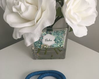 Czech Light Blue Wrap Bracelet