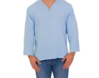 V-Neck Shirt // Long Sleeve Kurta // 100% Super Soft Cotton // Made in Thailand // Hippie Hobo Boho Bohemian Wear // Festival Clothing