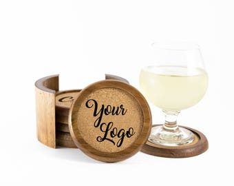 Personalized Coasters 6 pcs with Holder | Engraved Wood Coasters | Coaster Set | Personalized Wood and Cork Coasters | Your Logo Coasters