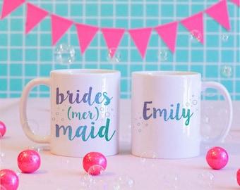 Brides-Mer-Maid Matching Custom Coffee Mugs, Bridal Party Gifts, Bridal Party Favors, Matching Mugs, Custom Mugs, Wedding Mugs