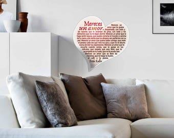 Valentine's Heart, Frida Kahlo, Poetry, Poetry in Spanish, Heart Wall Sticker, Heart Magnet, Heart Frida Kalho, Gift, Fridge Magnet