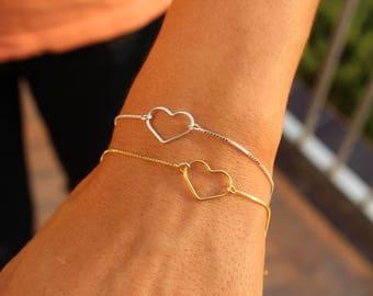 Layered Bracelet, Heart Bracelet, Minimalist Bracelet, Dainty Bracelet, Tiny Bracelet, Gold Bracelet, Sterling Silver, Love Bracelet