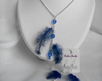 Necklace set / royal blue earrings
