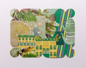 green, original paper collage