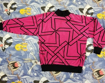 Vintage 80s Sweatshirt Sweater Crazy Pattern Pink Size Medium M