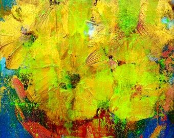 Sunflowers Abstract Acrylic Art Lana Mindeli 40-60cm. Walldecor Homdecor