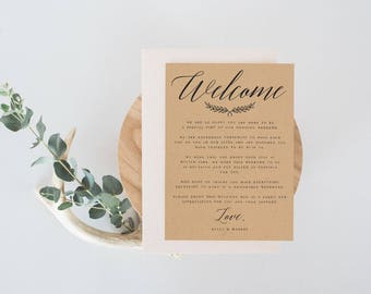 Welcome wedding letter template welcome note template diy kraft rustic welcome wedding letter template welcome note template diy wedding letter welcome card welcome wedding stopboris Gallery