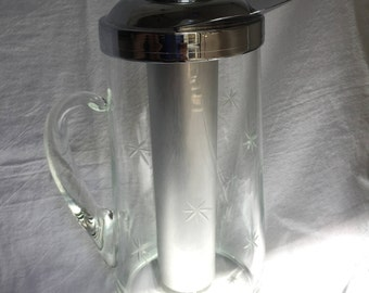 Gilley ChillIt Etched Glass Atomic Starburst Pitcher