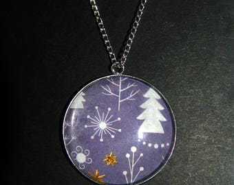 Christmas Patterned Stone Pendant Necklace