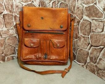 Leather Satchel, leather messenger, French Leather, satchel bag, French satchel, Vintage French, crossbody bag, Shoulder Bag, Brown Leather,
