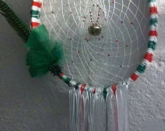 Handmade CHRISTMAS DREAMCATCHER with santa ornament and bell!