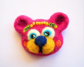 Needle felted animal Wool bear brooch Needle felted brooch Wool brooch animal Brooch animal Brooch bear Bear jewelry Felted pin Pink brooch