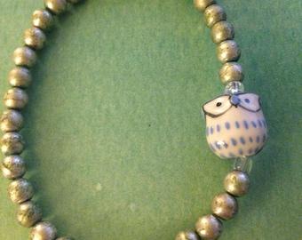 Blue owl beaded bracelet