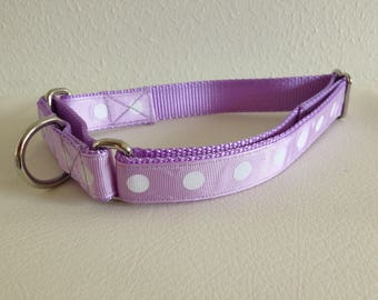 Martingale Dog Collar, Large Purple Martingale Collar, Large Polka Dot Martingale Dog Collar, Large Adjustable Dog Collar