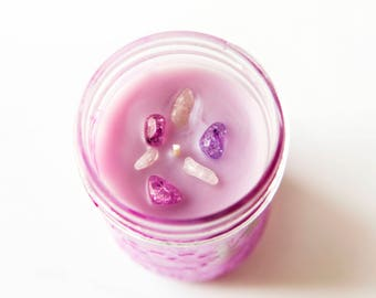 Rasberry Fizz & Sugar Candle (8 Oz.) - Candles - Hand Poured Candles - Crystals - Stones - Candles with Stones - Mason Jar Candle - Wax