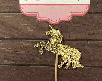 Glitter UNICORN Birthday cupcake Toppers 12 - Personalised and Australian Made