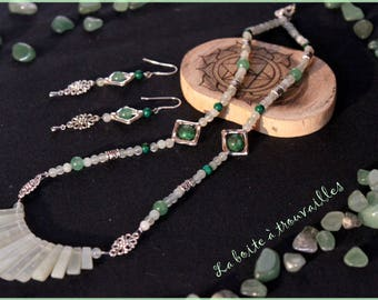 """Jade stone beads"" necklace and earrings set"