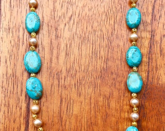 African Turquoise and Australian Freshwater Pearl Necklace