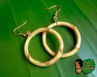 Natural Bamboo Root Hoops Earrings