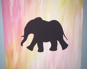 Elephant Silhouette Painting