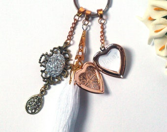 Keychain with Locket - Gold Locket Heart - Opens - Secret Message - White Tassel with Pendants - Fashion Pendants - Gift For Her