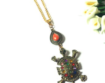 Necklace Turtle - Gold Chain - Turtle Pendant - Necklace Animal - Pendant Animal - Orange Pendant - Jewelry - Gift - Statement Necklace