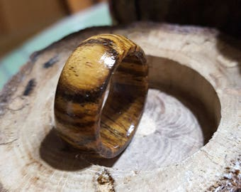 """Exotic Bocote wood Ring.Sizes 6-13. 5 Year anniversary. Holiday. Birthday. Any Occasion """"LIMITED QUANITY"""