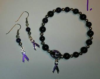 Set: Dark Purple Awareness Bracelet and Earrings