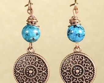 Antique Copper Earrings Dangle Earrings Bohemian Earrings Blue Stone Earrings Blue Earrings Mandala Earrings Earthy Earrings Boho Jewelry