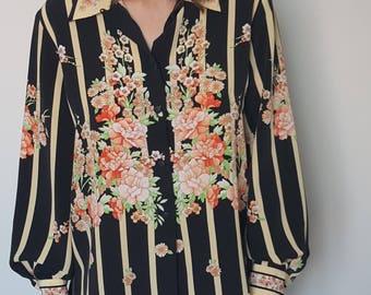 Shirt / striped / flowers / oversized / 90's