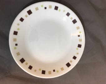 "Vintage Corelle 6 3/4"" Salad / Dessert Plate Geometric Design Brown Tan & Green Square"