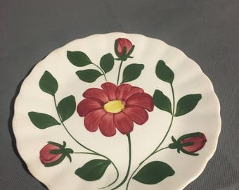 """Vintage Decorative Maroon Floral Hand Painted Plate by Blue Ridge Southern Potteries Inc. under glazed 7 1/4"""" diameter"""