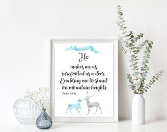 He makes me as surefooted as a deer,Bible verse art,Boy baptism,Deer Scripture prints,Nursery Scripture,Christian wall art,Kids wall decor