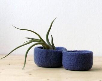 Blue denim felted bowl / Two nesting bowls in Denim blue / Cozy Air plant holder - Wool vessel