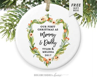 First Christmas as New Mommy and Daddy, New Parents Christmas Ornament 2017, Our First Christmas Ornament 2017, New Parents Ornament Gift