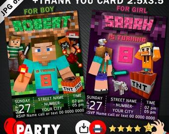 Mine themed birthday invitation +free Thank you card. Mine invitation. Mine craft Party. Mine birthday party. Mine Invite. Pixel Party