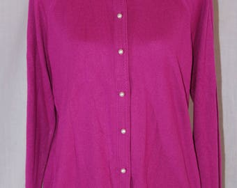 Vintage DESIGNERS ORIGINALS Pink Purple Acrylic Long Sleeve Button Down Cardigan Sweater Size XL 42