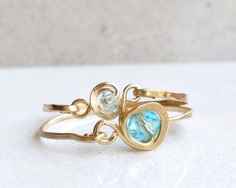 Swarovski Blue Topaz Ring/March Birthstone Ring/Stacking Rings/Raw Ring/Gold Filled Or Sterling Silver Ring/Statement Ring/Turquoise Ring