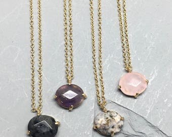 Handmade semi precious stone dainty necklace